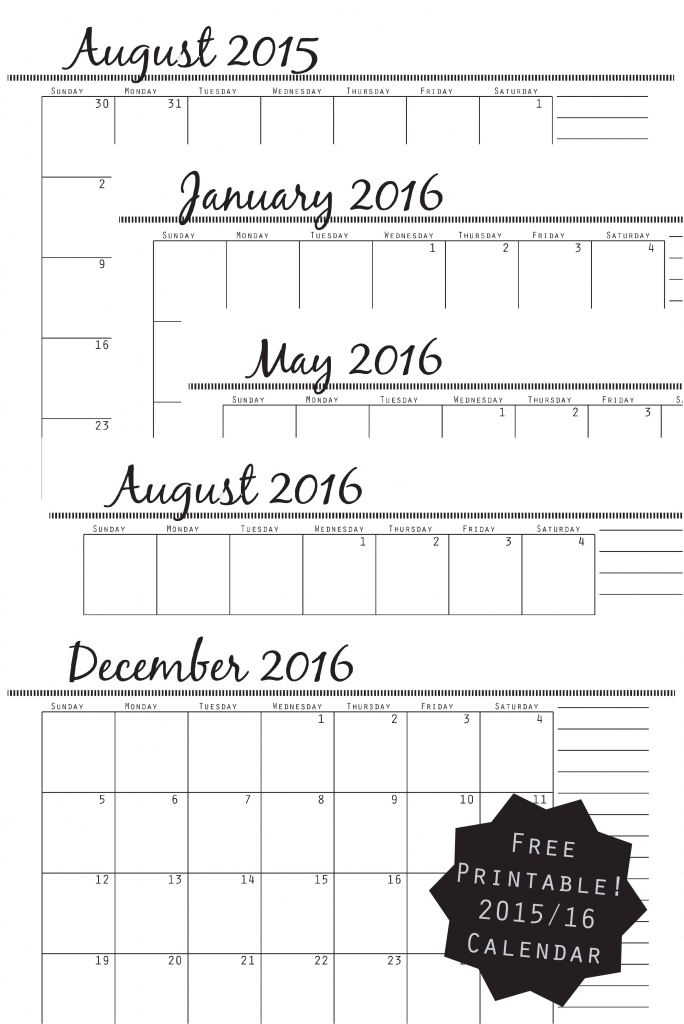2015/2016 Calendar by Amy Ellis - AmysCreativeSide.com