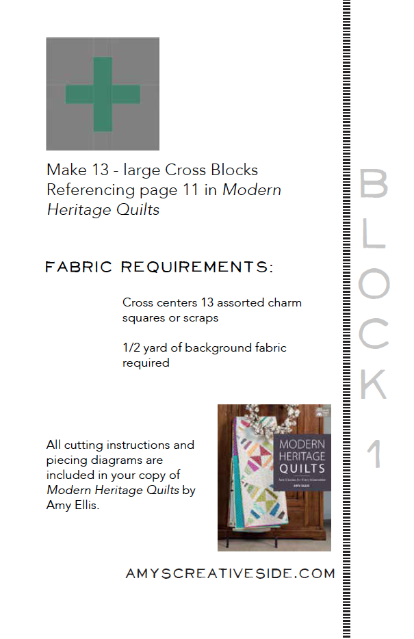 Modern Heritage Quilts BOM 1 - AmysCreativeSide.com