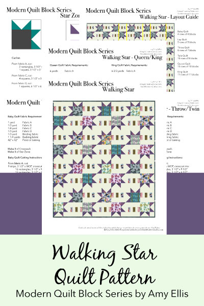 Walking Star Quilt Pattern by Amy Ellis part of the Modern Quilt Block Series