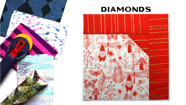 Modern Quilt Block Series - Diamonds Quilt Block Pattern by Amy Ellis